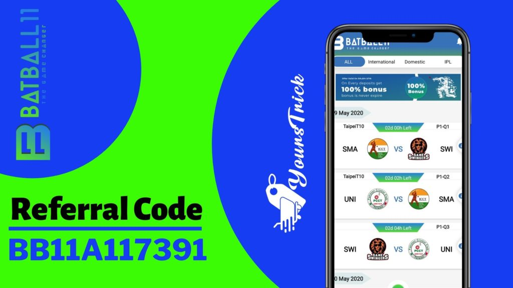 BatBall11 Referral code, Rs.50 on Signup, Apk Download