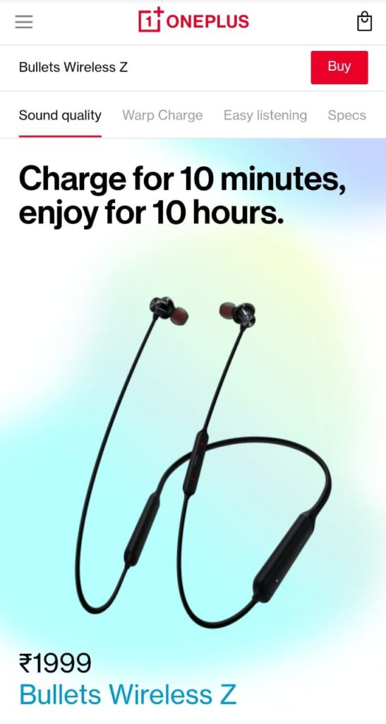 [200 discount coupon] OnePlus Bullets Wireless Z Bluetooth Earphone at Rs.1799