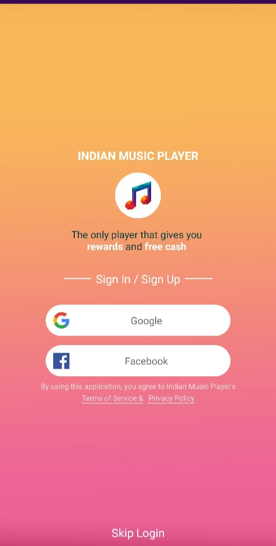 Step To Signup On Indian Music player & Get ₹50