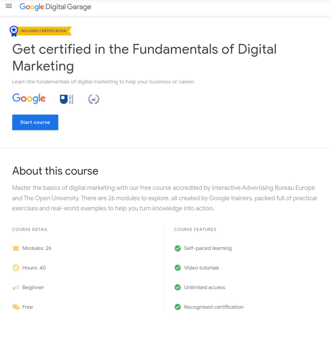 Google Digital Garage - Get Paid Digital Course For Free