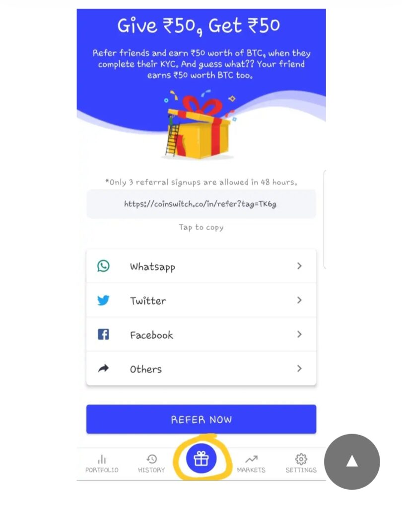 CoinSwitch Refer and Earn | Apk Download | 50 on sign up, 50 per refer